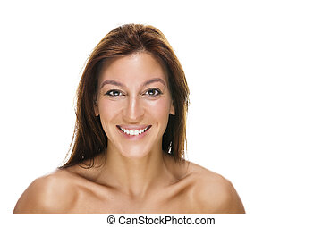 portrait of a happy beautiful woman on white background