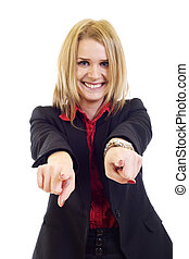 Portrait of a happy business woman pointing