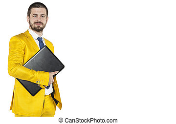 portrait of a happy businessman computer at hand