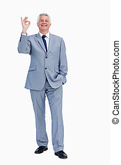 Portrait of a happy businessman praising