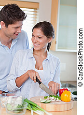 Portrait of a happy couple cooking