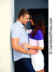 Portrait of a happy couple hugging