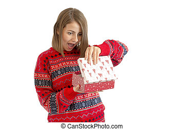 Portrait of a happy cute woman holding gift box isolated on a white background