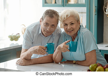 Portrait of a happy elderly couple drinking tea