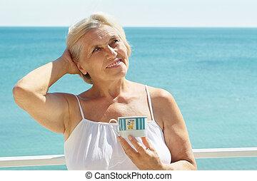 elderly woman at the resort