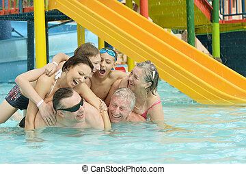 family having fun - Portrait of a happy family having fun in...