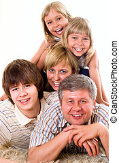 portrait of a happy family of five