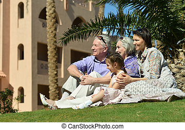 family on tropical resort