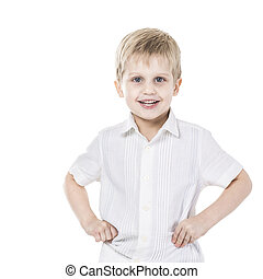 portrait of a happy five year old boy on white background