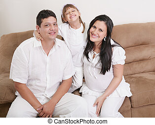 Portrait of a happy hispanic family