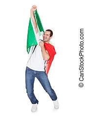 Portrait Of A Happy Man Holding An Italian Flag