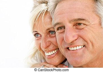 Portrait of a happy romantic couple - Closeup portrait of a...