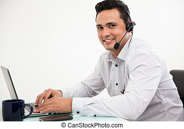 Portrait of a happy sales rep