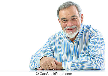 Portrait of senior man sitting isolated on white background