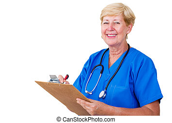 senior nurse taking notes