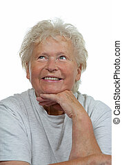 Portrait of a happy senior woman on white background
