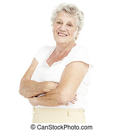 senior woman - portrait of a happy senior woman smiling over...