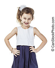 portrait of a happy six-year-old girl against white background