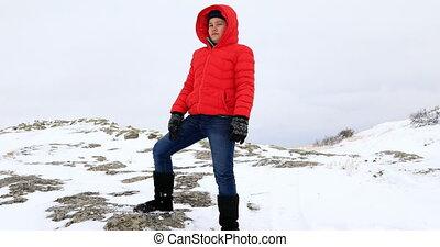 Portrait of a happy winter boy