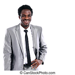 Portrait of a happy young African American business man on white