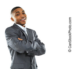 Portrait of a happy young African American business man with hands folded on white