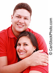 Portrait of a happy young couple having fun together against white background
