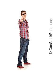 young man pointing at camera