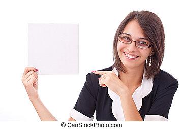 woman showing a blank board