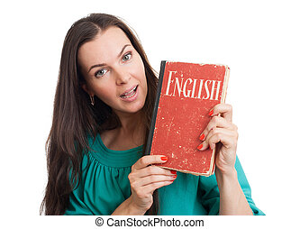 young woman with an English textbook