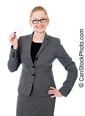 Portrait of a happy young woman with business card
