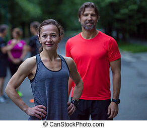 portrait of a healthy jogging couple