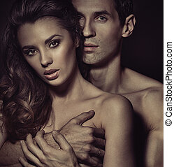Portrait of a hugging couple - Portrait of a hugging sensual...