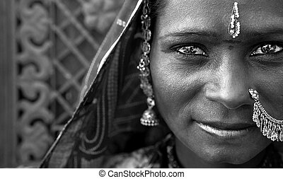 Portrait of a India Rajasthani woman black and white
