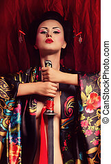 Portrait of a Japanese geisha woman