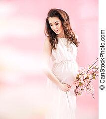 Portrait of a joyful pregnant lady - Portrait of a joyful...