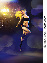 Portrait of a jumping dancer