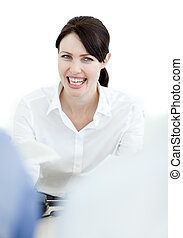 Portrait of a laughing businesswoma