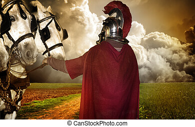 Portrait of a legionary soldier with horses