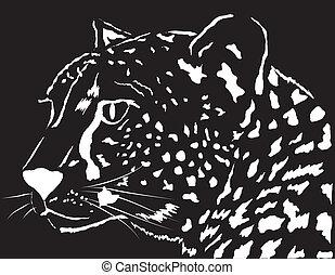 Portrait of a leopard. Vector illustration. Design element.