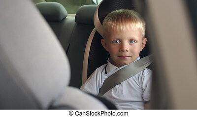 Portrait of a little boy 6 years old in a car seat, he is wearing seat belts.
