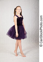 girl in a purple dress