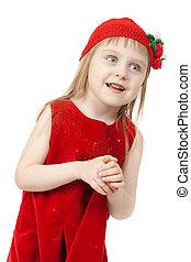 Portrait of a little girl in red dress