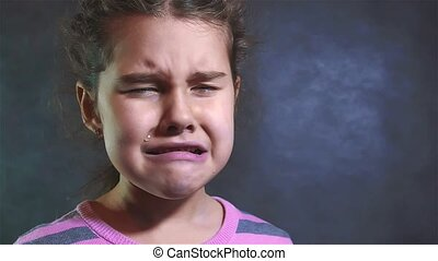 Portrait of a little girl She is crying. slow motion video. girl praying crying hopelessness despair. family violence concept girl sad emotions lifestyle concept