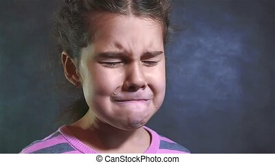 Portrait of little girl She is crying. slow motion video. girl praying crying hopelessness despair. family violence concept girl sad emotions concept lifestyle