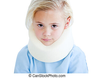 Portrait of a little girl with a neck brace