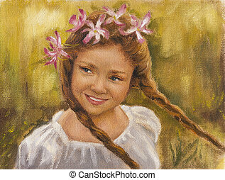 portrait of a little girl with braids