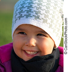 portrait of a little girl with hat