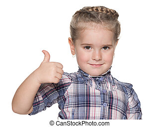 Portrait of a little girl with her thumb up