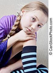 portrait of a little school girl