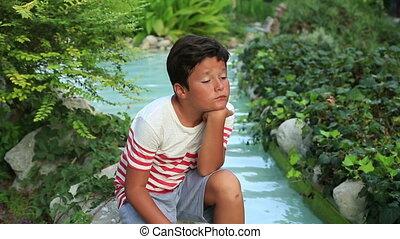 Portrait of a lonely sad child
